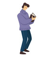 education and literature man reading book vector image