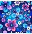 Floral dark blue seamless spring pattern vector image vector image