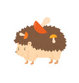 funny hedgehog carrying colorful mushrooms vector image vector image