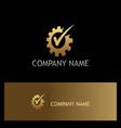 gear work check mark gold logo vector image vector image