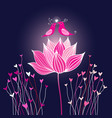 graphic birds in love on a lotus flower vector image