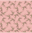 hand drawn bloom green branches with pink flowers vector image vector image