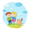 Happy children with dog at park vector image vector image
