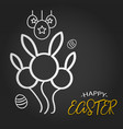 happy easter template with rabbit balloon shape vector image vector image