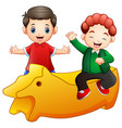 happy little two kids with a yellow toy isolated o vector image vector image