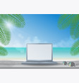 laptop on wooden desk at the beach vector image vector image
