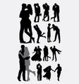 love and tenderness couple silhouettes vector image