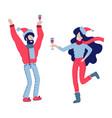 man and woman celebrating at a christmas party vector image vector image