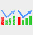 pixelated and flat trend chart icon vector image vector image
