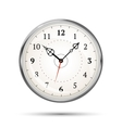 Realistic metal glossy clock on white vector image