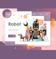 robot website landing page design template vector image vector image