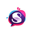 s letter chat app logo at colorful watercolor