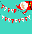 santa claus holding merry christmas bunting flags vector image