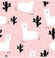 seamless pattern alpaca llama jumping cactus vector image