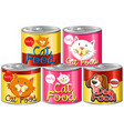 set of canned pet food vector image