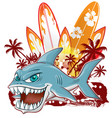 shark character cartoon over surfboard vector image vector image