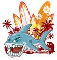 shark character cartoon over surfboard vector image