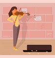 street musician with violin vector image