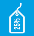 tag with 25 discount icon white vector image vector image