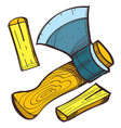 the ax and log color in hand drawing style vector image
