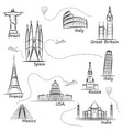 world sights icons set world s most popular vector image