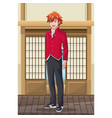 young male students anime vector image vector image