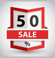 red badge with fifty percent sign vector image