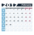 Calendar 2017 February design template vector image