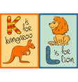 Children Alphabet with Funny Animals Kangaroo and vector image