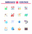 16 flat color viral virus corona icon pack such vector image vector image