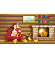 A duck and her ducklings near the fireplace vector image vector image