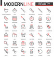 beauty cosmetics flat icon set vector image vector image