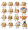 cartoon choc chip cookie characters 1 vector image vector image
