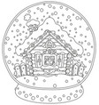 christmas crystal ball with a snow-covered hut vector image