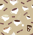 Coffee seamless pattern of different kinds vector image