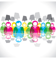 color businessmen meeting message bubble vector image vector image