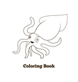 Coloring book squid fish cartoon vector image vector image