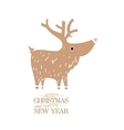 Cute brown deer New Year Christmas Holiday vector image