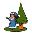 cute girl and christmas tree cartoon vector image