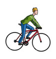 drawing guy rider bike transport vector image vector image