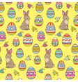 easter pattern yellow bunny vector image vector image