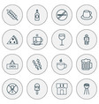 eating icons set with plant tea wc and other vector image