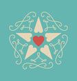 Elegant vintage card for Valentines Day line art vector image vector image
