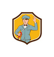 Gas Jockey Attendant Waving Shield Cartoon vector image vector image