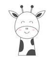 giraffe face head line sketch icon kawaii animal vector image