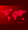 global network connection background red world vector image vector image
