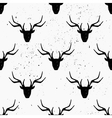 hand drawn deer heads abstract seamless pattern vector image vector image