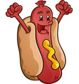 hot dog cartoon character celebration vector image vector image
