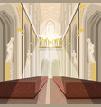interior of cathedral church or catholic basilica vector image vector image