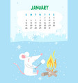 january calendar page with cute rat vector image vector image